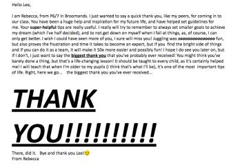 Rebbecca's thank you